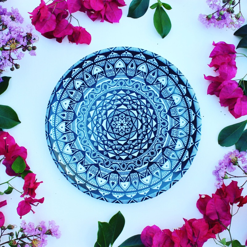 Australian homewares - Black and white mandala plate
