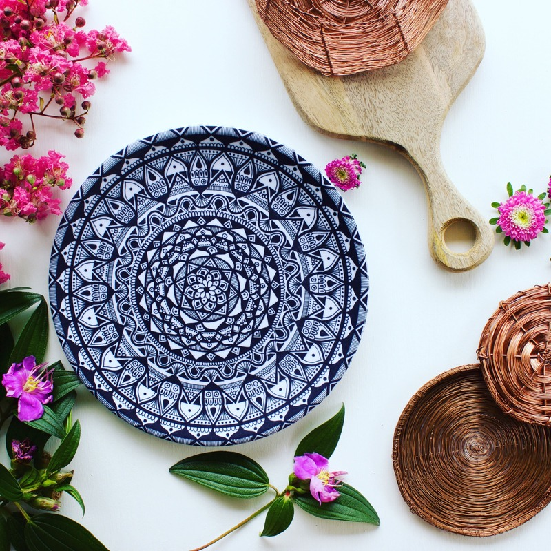 Ethical and Sustainable Homewares - Black and white mandala plates