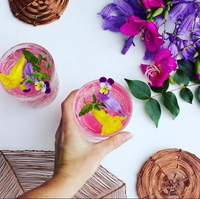 Summer fruit smoothies served upon bespoke copper coasters