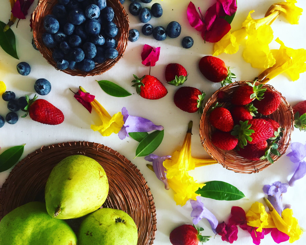 Handcrafted copper bowls and plates - Australian fruit - Fruit and floral flat lay - Summer fruits