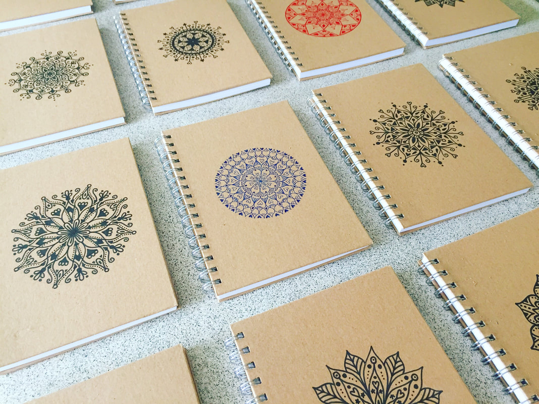 About Sophia, recycled materials, mandala designs, personalised stationery