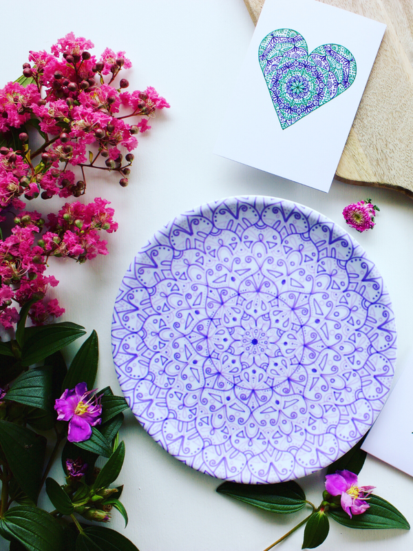 Unique, country style homewares that are white and purple and inspired by jacaranda flowers