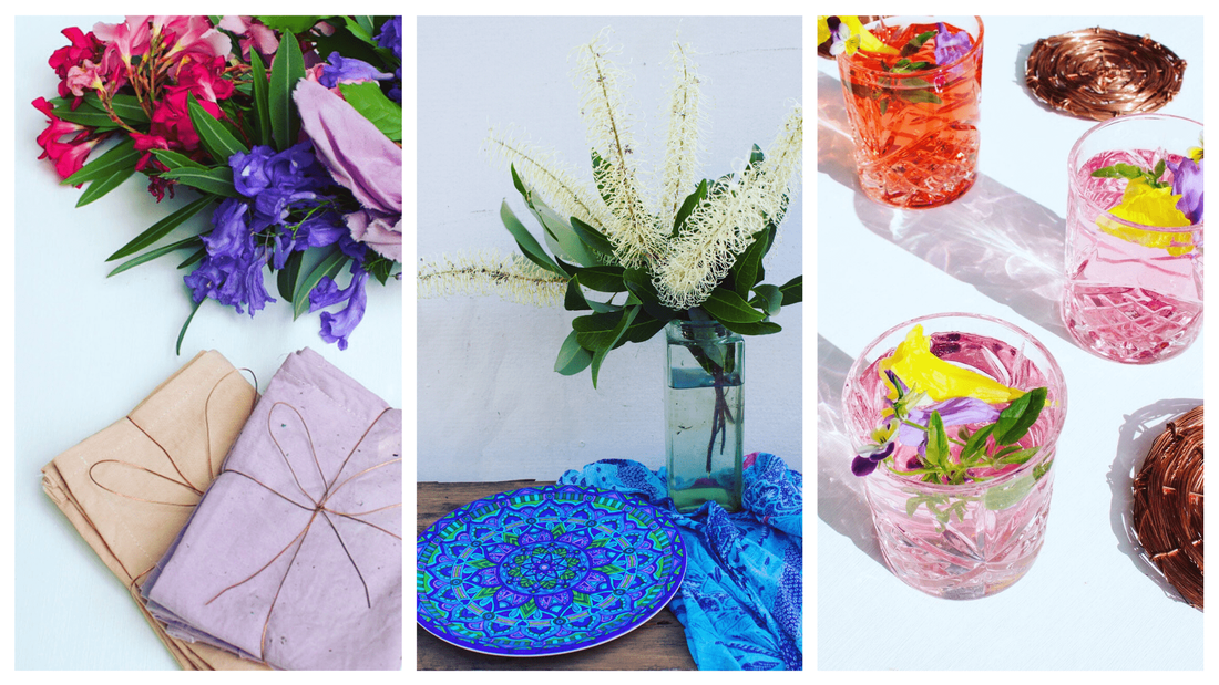 Beautiful tableware surrounded by botanically dyed linen and colourful flowers
