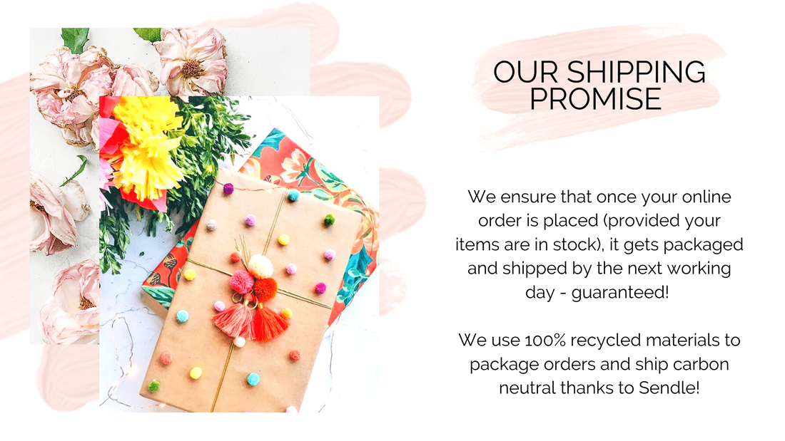 Our shipping promise to you - carbon neutral delivery and 100% recycled packaging