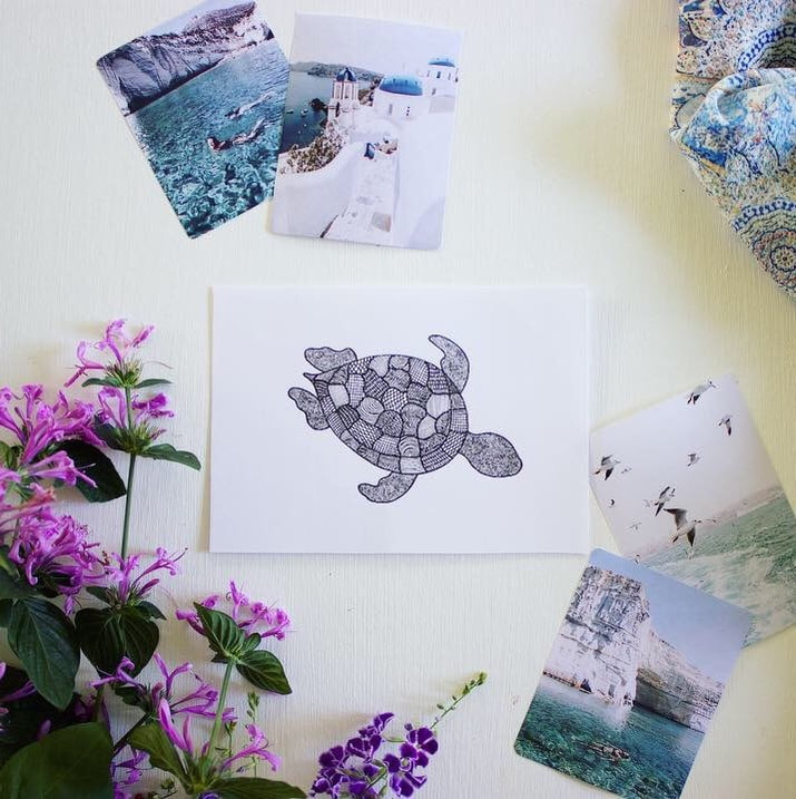 World Oceans Day gift cards - turtle