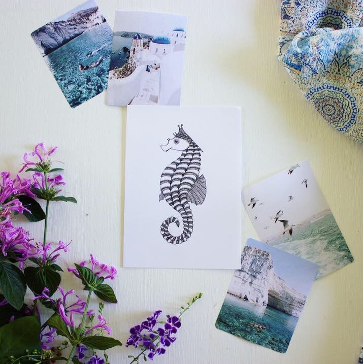 World Oceans Day gift cards - seahorse
