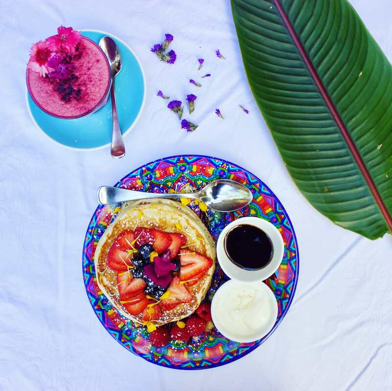 Bohemian plate loaded up with vegan pancakes