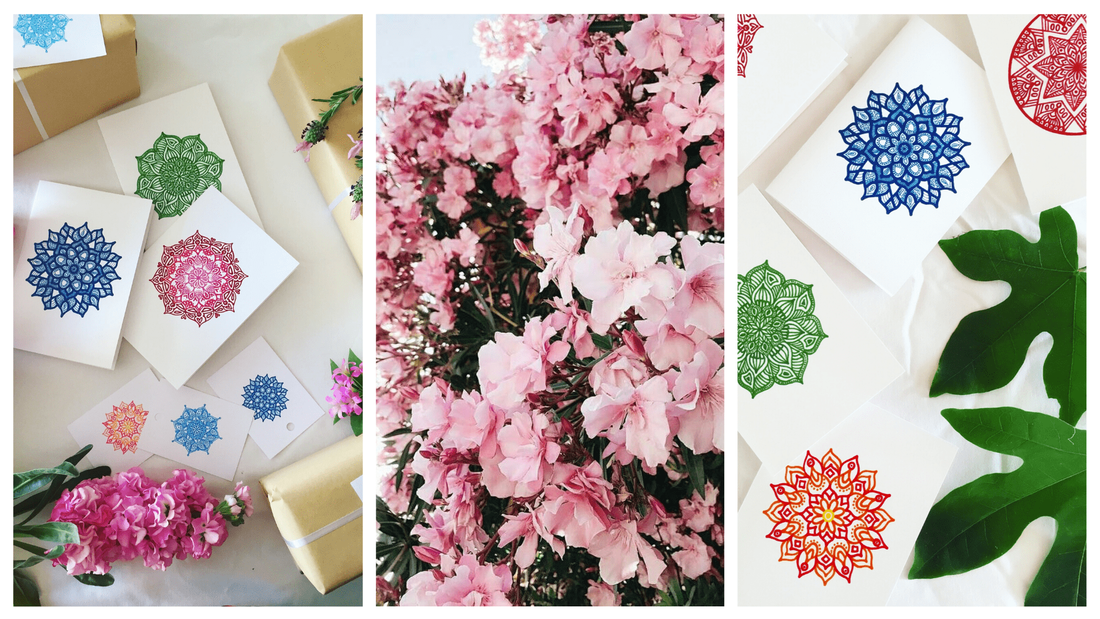 Beautiful and eco-friendly gift cards surrounded by flowers and pieces of nature