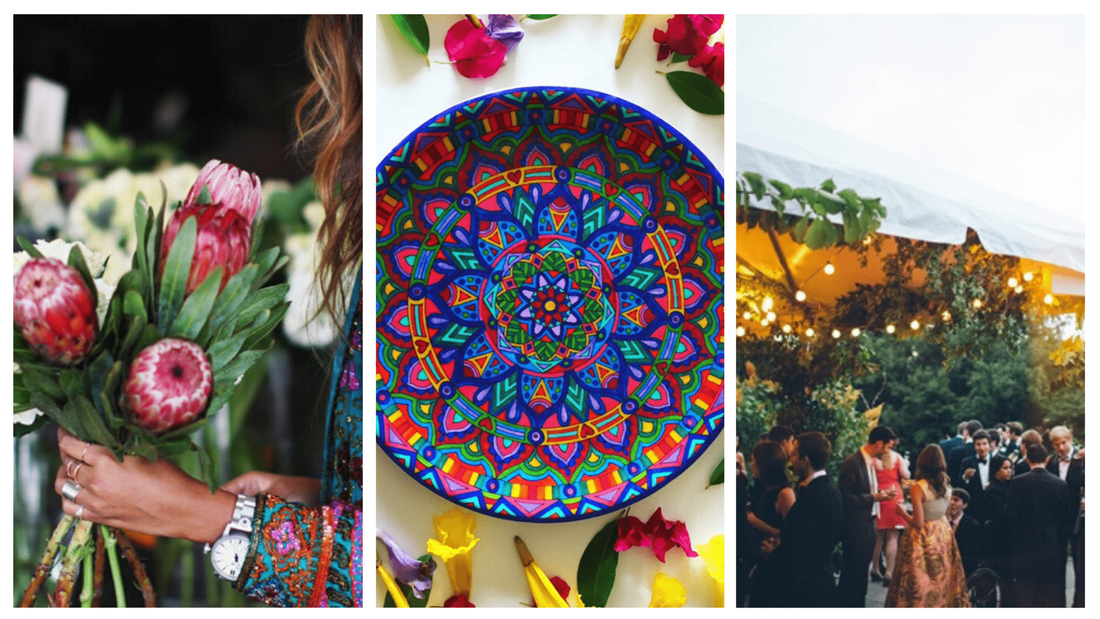 Beautiful bohemian mandala plates surrounded by flowers and used during celebrations