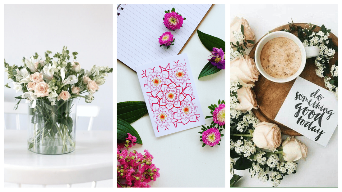 Handcrafted, coastal inspired gift cards styled with beautiful stationery and fresh flowers